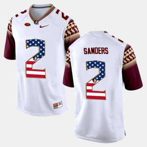 Mens FSU Seminoles #2 Deion Sanders White US Flag Fashion Jersey 541163-885