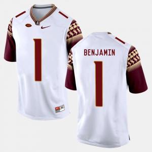 For Men FSU #1 BKelvin Benjamin White College Football Jersey 355801-979