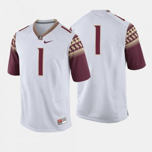 For Men Seminoles #1 White College Football Jersey 612165-787