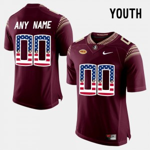 Youth(Kids) Seminole #00 Red US Flag Fashion Custom Jerseys 174773-701