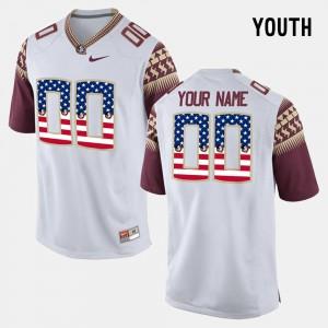 Youth(Kids) Florida ST #00 White US Flag Fashion Custom Jerseys 926637-507