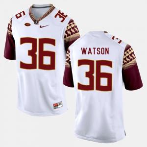 Men FSU Seminoles #36 Dekoda Watson White College Football Jersey 180335-976