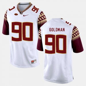 Men's Florida State #90 Eddie Goldman White College Football Jersey 571897-599