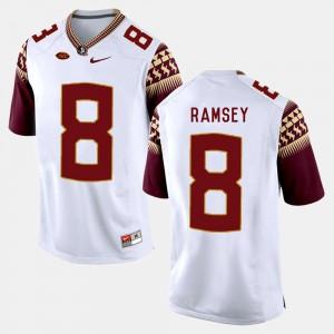For Men's Seminole #8 Jalen Ramsey White College Football Jersey 427319-805