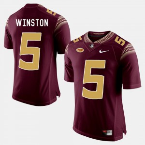 Men's Florida State Seminoles #5 Jameis Winston Garnet College Football Jersey 168993-425