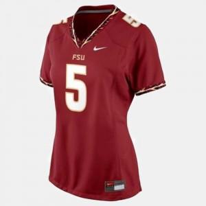 Ladies Florida State #5 Jameis Winston Red College Football Jersey 567009-580