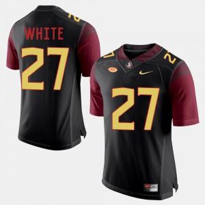 For Men's Florida State Seminoles #27 Marquez White Black College Football Jersey 764784-391