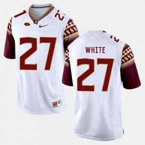 For Men's Seminole #27 Marquez White White College Football Jersey 937208-872
