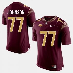 Mens Seminole #77 Roderick Johnson Garnet College Football Jersey 648169-843