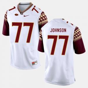 Men Seminole #77 Roderick Johnson White College Football Jersey 738063-678