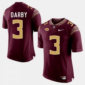 For Men FSU #3 Ronald Darby Garnet College Football Jersey 366430-346