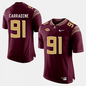 For Men Seminole #91 Tank Carradine Garnet College Football Jersey 339017-542