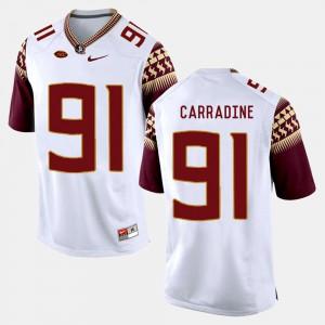 For Men's FSU Seminoles #91 Tank Carradine White College Football Jersey 371533-380