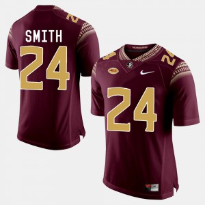 Men's FSU #24 Terrance Smith Garnet College Football Jersey 853187-674