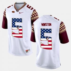 Men Florida State #5 Jameis Winston White US Flag Fashion Jersey 157087-888