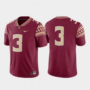 Men's Seminoles #3 Garnet Game College Football Jersey 327303-490