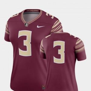 For Women's Florida State Seminoles #3 Garnet College Football Legend Jersey 951743-938